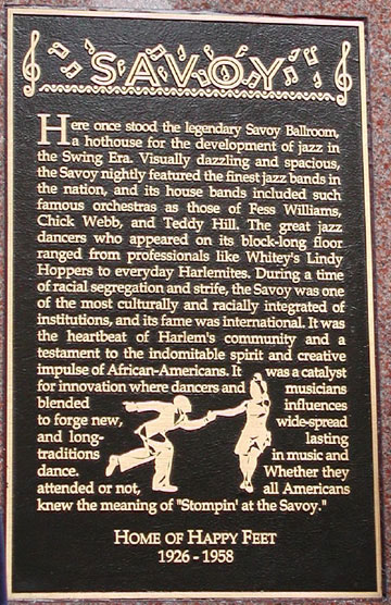 plaque The Savoy Ballroom, Harlem NY